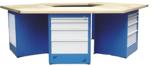 00853712 Stół wyspowy 6-stanowiskowy, 3 drzwi, 12 szuflad (wymiary: 3000x2600x900 mm)