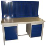 13340637 Stół warsztatowy z jedną szafką uchylną i jedną czteroszufladową + tablica SW (wymiary: 1600x700x850 mm)