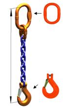 33948242 Zawiesie łańcuchowe jednocięgnowe klasy 10 miproSling KHSW 14 (długość łańcucha: 1m, udźwig: 14 T, średnica łańcucha: 19 mm, wymiary ogniwa: 200x110 mm)