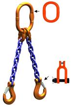 33948264 Zawiesie łańcuchowe dwucięgnowe klasy 10 miproSling KSCHW 9,5/6,7 (długość łańcucha: 1m, udźwig: 6,7-9,5 T, średnica łańcucha: 13 mm, wymiary ogniwa: 180x100 mm)