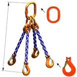 33948290 Zawiesie łańcuchowe czterocięgnowe klasy 10 miproSling KHSW 14,0/10,0 (długość łańcucha: 1m, udźwig: 10-14 T, średnica łańcucha: 13 mm, wymiary ogniwa: 200x110 mm)
