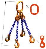 33948310 Zawiesie łańcuchowe czterocięgnowe klasy 10 miproSling WLHW 5,3/3,75 (długość łańcucha: 1m, udźwig: 3,75-5,3 T, średnica łańcucha: 8 mm, wymiary ogniwa: 160x90 mm)