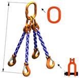 33948314 Zawiesie łańcuchowe czterocięgnowe klasy 10 miproSling KSCHW 4,0/2,8 (długość łańcucha: 1m, udźwig: 2,8-4 T, średnica łańcucha: 7 mm, wymiary ogniwa: 160x90 mm)