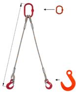 33948377 Zawiesie linowe dwucięgnowe miproSling FW 19,0/14,0 (długość liny: 1m, udźwig: 14-19 T, średnica liny: 36 mm, wymiary ogniwa: 275x150 mm)