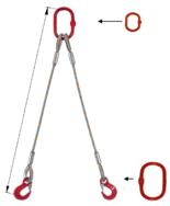 33948391 Zawiesie linowe dwucięgnowe miproSling T 40,0/29,0 (długość liny: 1m, udźwig: 29-40 T, średnica liny: 52 mm, wymiary ogniwa: 400x200 mm)