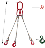 33948417 Zawiesie linowe trzycięgnowe miproSling C-WLL 15,0/11,0 (długość liny: 1m, udźwig: 11-15 T, średnica liny: 26 mm, wymiary ogniwa: 230x130 mm)