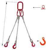 33948419 Zawiesie linowe trzycięgnowe miproSling FW 9,0/6,5 (długość liny: 1m, udźwig: 6,5-9 T, średnica liny: 20 mm, wymiary ogniwa: 190x110 mm)