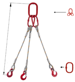 33948436 Zawiesie linowe trzycięgnowe miproSling T 18,0/12,5 (długość liny: 1m, udźwig: 12,5-18 T, średnica liny: 28 mm, wymiary ogniwa: 275x150 mm)
