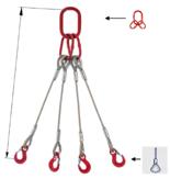 33948515 Zawiesie linowe czterocięgnowe miproSling FK 44,0/31,5 (długość liny: 1m, udźwig: 31,5-44 T, średnica liny: 44 mm, wymiary ogniwa: 350x190 mm)