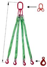 33948520 Zawiesie pasowe czterocięgnowe dwuwarstwowe miproSling LE 8400 (długość pasa: 1m, udźwig: 8400 kg, wymiary taśmy: 120x7 mm, wymiary ogniwa: 230x130 mm)