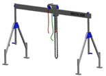 33959998 Wciągarka bramowa aluminiowa z wózkiem pchanym i wciągnikiem łańcuchowym miproCrane DELTA 400M (udźwig: 1000 kg, szerokość: 8100 mm, wysokość: 1640/2740 mm)