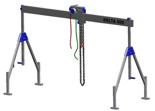 33960015 Wciągarka bramowa aluminiowa z wózkiem pchanym i wciągnikiem łańcuchowym miproCrane DELTA 400H (udźwig: 1500 kg, szerokość: 4100 mm, wysokość: 2700/4400 mm)