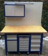 77156969 Stół warsztatowy, 5 szuflad, 1 szafka + szafa z nadbudową + wózek z 6 szufladami (wymiary: 1500x750x850 mm)