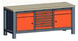 99551560 Stół trójka, stelaż z blatem, 2 drzwi, 9 szuflad (wymiary: 850-900x2000x700 mm)
