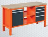 99551620 Stół warsztatowy, 6 szuflad, 1 drzwi, półka (wymiary: 850-900x1765x620 mm)