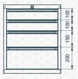 99551632 Szafka typ J, 4 szuflady (wymiary: 625x520x550 mm)