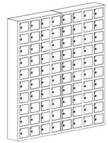99552421 Szafka na komórki, 80 skrytkowa (wymiary: 1530x1470x200 mm)