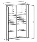 99552501 Szafa warsztatowa, 2 półki, 12 szuflad (wymiary: 1950x1200x500 mm)