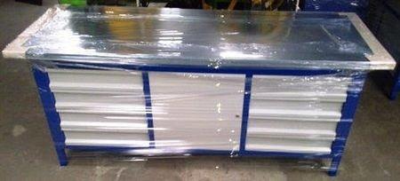 77156985 Stół warsztatowy, 1 szafka, 8 szuflad (wymiary: 2000x750x900 mm)