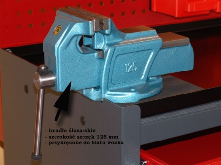 87853289 Wózek monterski, tablica, zawieszki, imadło (wymiary: 1715x1000x550 mm)