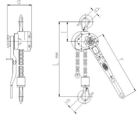 DOSTAWA GRATIS! 22021340 Wciągnik dźwigniowy, rukcug z łańcuchem galla RZV/1.6t (wysokość podnoszenia: 3m, udźwig: 1,6 T)