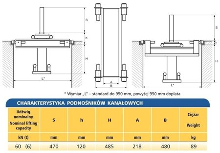 DOSTAWA GRATIS! 62725790 Podnośnik kanałowy - standardowy (udźwig: 6T)