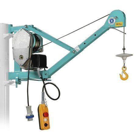 DOSTAWA GRATIS! 05668344 Wciągarka linowa budowlana z podnoszonym wysięgnikiem pod stałym kątem 45º (udźwig: 200 kg, wysokość podnoszenia: 30 m)
