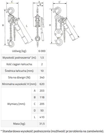 DOSTAWA GRATIS! 3398484 Wciągnik łańcuchowy, rukcug GKS 6,0 (udźwig: 6000 kg, wysokość podnoszenia: 1,5 m)