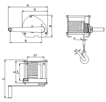 DOSTAWA GRATIS! 2203176 Wciągarka linowa LN/0.5t-S (długość liny: 10m, udźwig: 0,5 T)