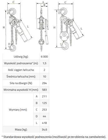 DOSTAWA GRATIS! 33948569 Wciągnik łańcuchowy, rukcug MKS 6,0 3m (udźwig: 6000 kg, wysokość podnoszenia: 3 m)