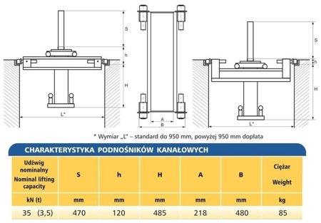 DOSTAWA GRATIS! 62725789 Podnośnik kanałowy - standardowy (udźwig: 3,5T)