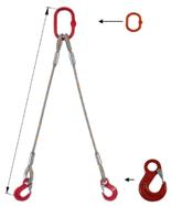 33948364 Zawiesie linowe dwucięgnowe miproSling HE 11,8/8,4 (długość liny: 1m, udźwig: 8,4-11,8 T, średnica liny: 28 mm, wymiary ogniwa: 230x130 mm)