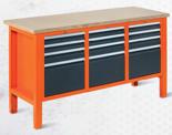 99551614 Stół warsztatowy, 12 szuflad (wymiary: 850-900x1765x620 mm)