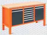 99551618 Stół warsztatowy, 11 szuflad, 2 drzwi (wymiary: 850-900x1765x620 mm)