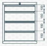 99551634 Szafka typ L, 4 szuflady (wymiary: 625x520x550 mm)