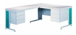 99551876 Biurko z dostawką, 6 szuflad (wymiary: 740x1600x800 mm, 740x1200x600 mm)