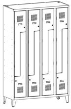 99551999 Szafka ubraniowa 0,8mm na nóżkach, 8 drzwi w kształcie L (wymiary: 1940x1200x500 mm)