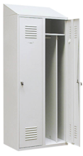 99552197 Szafka ubraniowa 0,8mm ze skośnym daszkiem, zamek ryglujący drzwi w 3 punktach, 2 drzwi (wymiary: 2000x800x490 mm)