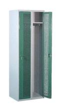 99552209 Szafka ubraniowa perforowana, zamek ryglujący drzwi w 3 punktach, 2 drzwi (wymiary: 1800x800x490 mm)