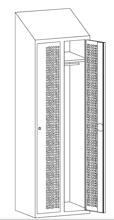 99552212 Szafka ubraniowa perforowana ze skośnym daszkiem, zamek na kłódkę, 2 drzwi (wymiary: 2000x600x490 mm)