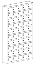 99552418 Szafka na komórki, 50 skrytkowa (wymiary: 1530x930x200 mm)