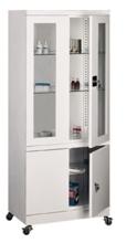 99552555 Szafa lekarska na kółkach, 3 półki, 4 drzwi (wymiary: 1890x800x435 mm)