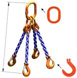 DOSTAWA GRATIS! 33948303 Zawiesie łańcuchowe czterocięgnowe klasy 10 miproSling KFW 8,0/6,0 (długość łańcucha: 1m, udźwig: 6-8 T, średnica łańcucha: 10 mm, wymiary ogniwa: 180x100 mm)