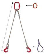 DOSTAWA GRATIS! 33948398 Zawiesie linowe dwucięgnowe miproSling F 47,0/33,5 (długość liny: 1m, udźwig: 33,5-47 T, średnica liny: 56 mm, wymiary ogniwa: 400x200 mm)