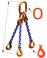 DOSTAWA GRATIS! 33971875 Zawiesie łańcuchowe trzycięgnowe klasy 10 miproSling KLHW 5,3/3,75 (długość łańcucha: 1m, udźwig: 3,75-5,3 T, średnica łańcucha: 8 mm, wymiary ogniwa: 160x90 mm)