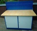 DOSTAWA GRATIS! 77156976 Stół warsztatowy z niską nadbudową, 2 szafki (wymiary: 1500x750x900 mm)