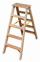 DOSTAWA GRATIS! 99674696 Drabina drewniana dwustronna Krause ze stopniami 2x5 (wysokość robocza: 2,65m)