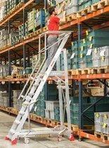 DOSTAWA GRATIS! 99675071 Drabina magazynowa 8 stopniowa FARAONE (wysokość robocza: 3,76m)