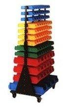 Regał dwustronny z pojemnikami plastikowymi, 206 pojemników (wymiary: 1765x1040x760 mm) 77157405