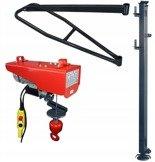 Wciągarka elektryczna linowa budowlana + Wysoki maszt + Ramie robocze + lina 30m + sterowanie ręczne 1,5m (udźwig: 200 kg) 08172283